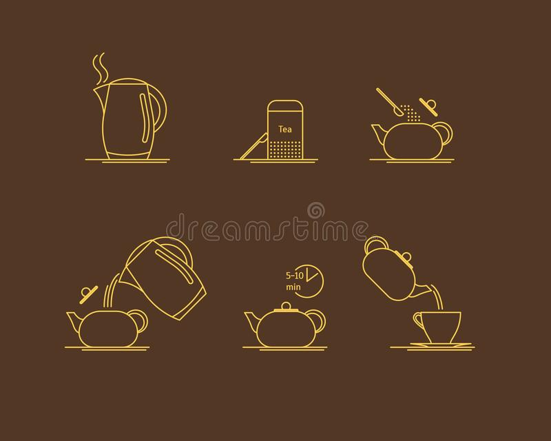 Tea Brewing Thin Line Set. Vector royalty free illustration