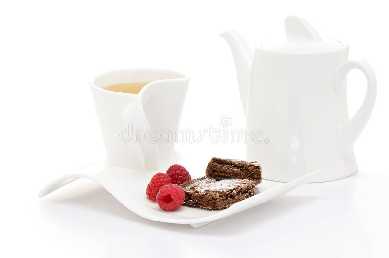 Download Tea With Brownies And Raspberries Stock Image - Image: 37541647