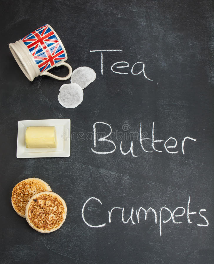 Download Tea Butter And Crumpets On A Blackboard Stock Photo - Image: 41281222