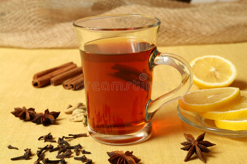Tea in cafe stock images