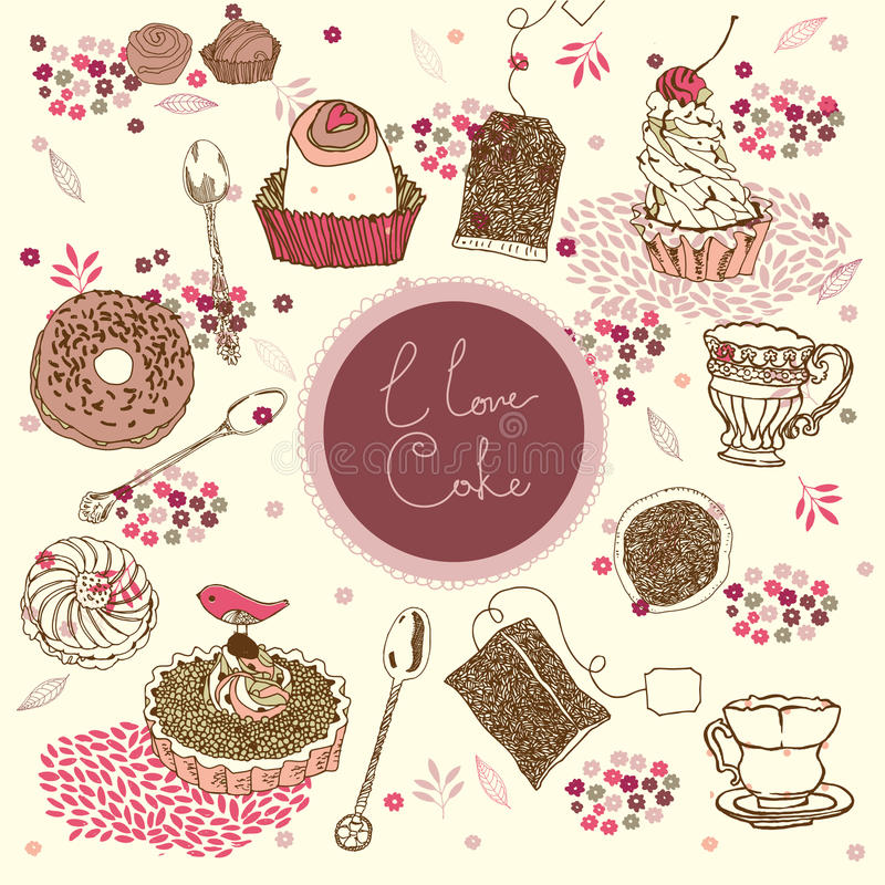 Tea and cake background vector illustration