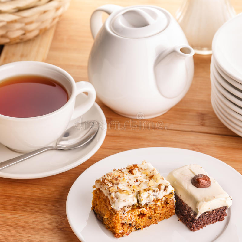 Tea and cake slices royalty free stock photos