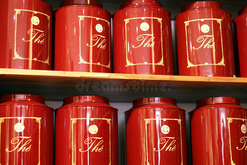 Tea can red. In exhibition stock photo