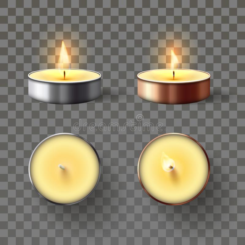 Tea candle. Romantic candles in metal flame, relaxing wax candle fire and spa aromatherapy candlelight isolated 3D. Tea candle. Romantic candles in metal flame vector illustration