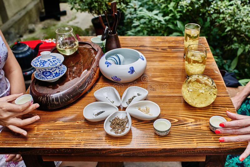 Tea ceremony in Chengdu Sichuan China. Tea ceremony in Du Fu thatched Cottage in Chengdu Sichuan China royalty free stock image