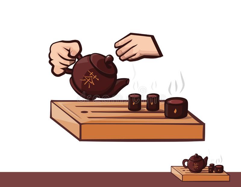 Tea ceremony. Clipart tea and hand. Teapot bowls ceramic and wood. Vector illustration eps10, isolated on white background. Realistic food drink symbol, 3d asian stock illustration
