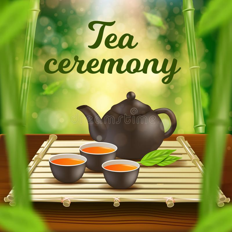 Tea Ceremony Vertical Banner Clay Pot and Cups Set stock illustration