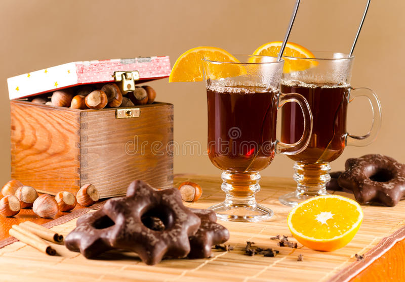 Tea and chocolate covered gingerbread royalty free stock photos