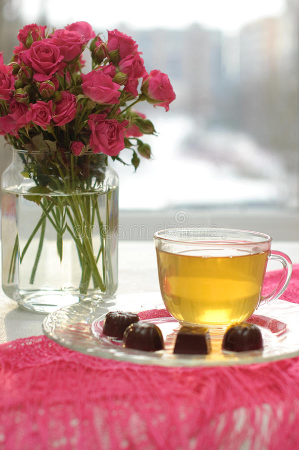 Download Tea, Chocolates And Pink Roses Stock Photo - Image: 13346020