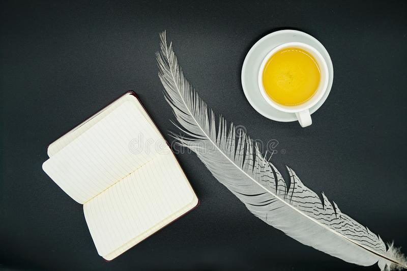 Tea, clean notebook and white pheasant feather. Green tea, clean notebook and white pheasant feather on black graphite stock photography