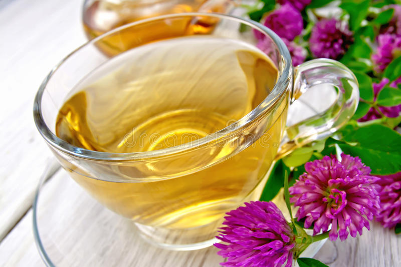 Tea with clover in cup on light board royalty free stock image