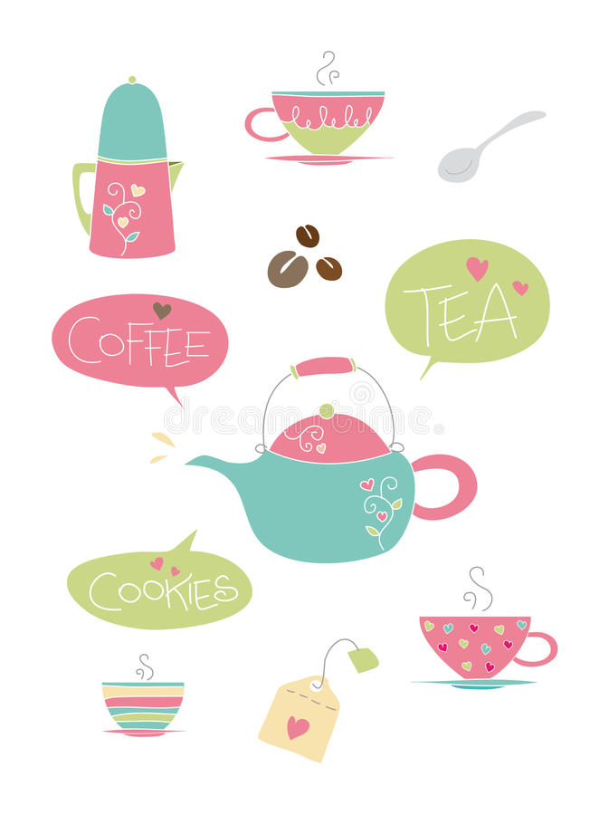 Tea And Coffee Elements Royalty Free Stock Photo