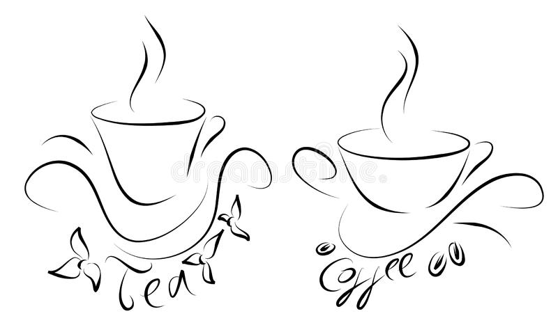 Tea and coffee cups stock images