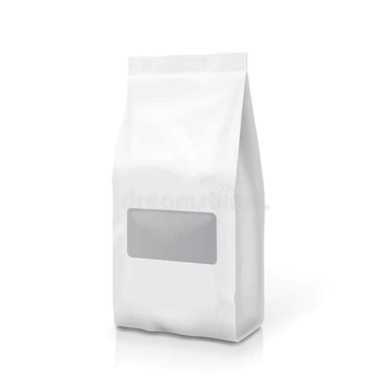 Tea coffee foil or paper package pack snack bag. Blank sachet isolated vector illustration stock illustration