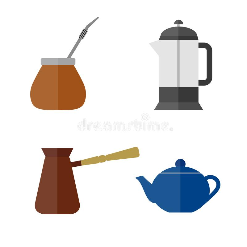 Tea and coffee making facility flat icons. Yerba mate calabash, teapot, french press, turkish cezve royalty free stock images