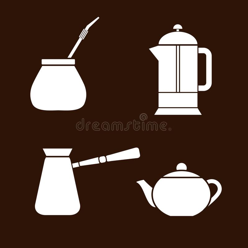 Tea and coffee making facility flat white icons. Yerba mate calabash, teapot, french press, turkish cezve royalty free stock photos