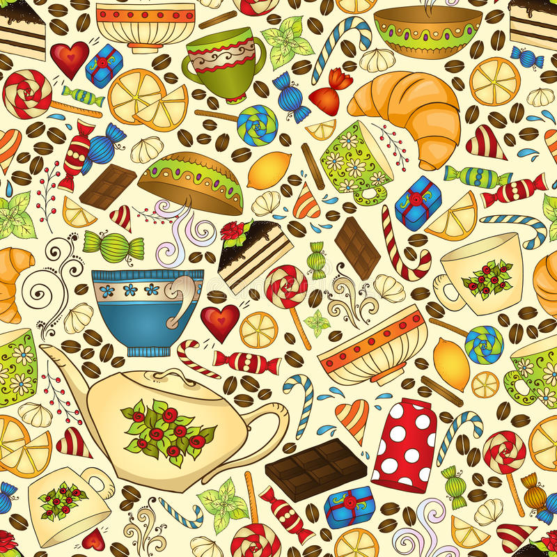 Tea, coffee and sweets seamless pattern. vector illustration