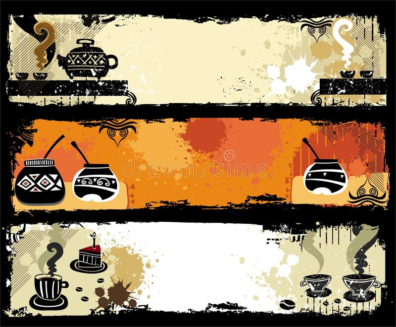 Tea, coffee, yerba mate banners. royalty free illustration