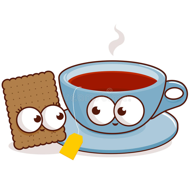 Tea and cookie characters. Vector illustration of a cartoon character cup of tea and a cookie stock illustration