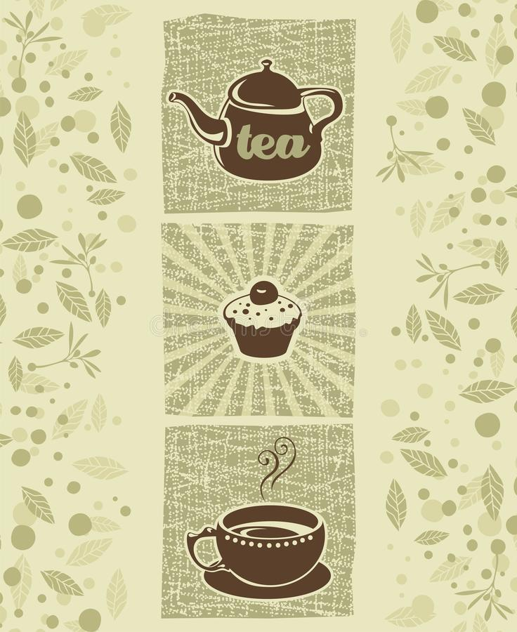 Tea and cookie. Retro illustration with teapot, cookie and teacup royalty free illustration