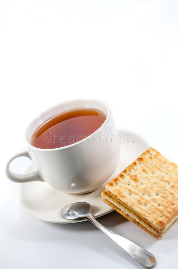 Tea and crackers with chocolate. Drinks and snacks during the break stock photos