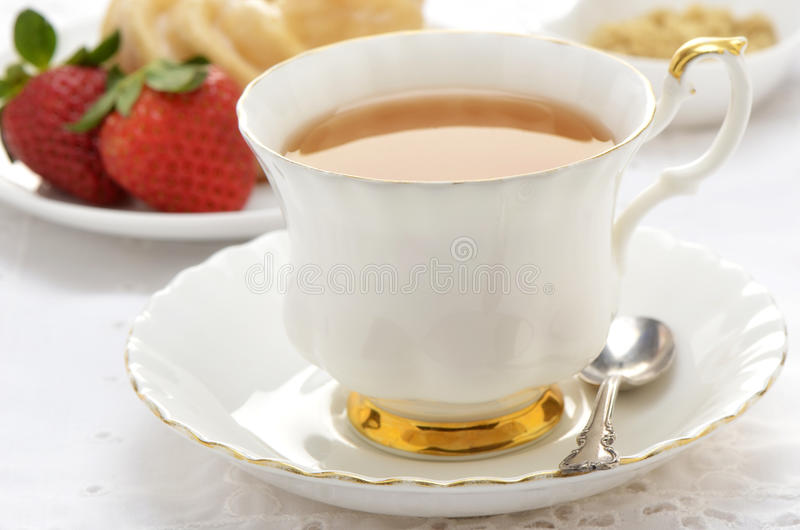 Download Tea  With Cruller And Strawberries Royalty Free Stock Photography - Image: 37368247