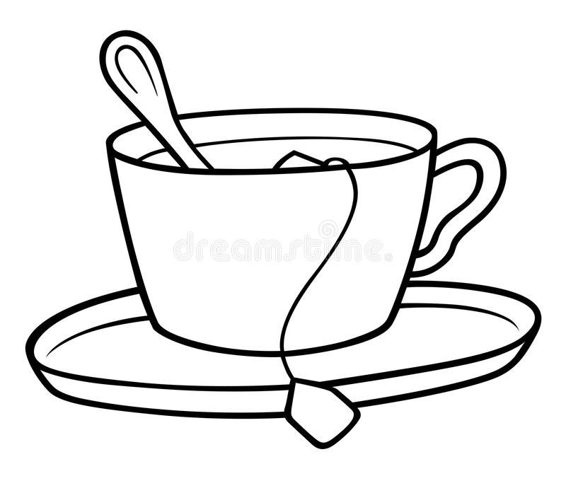 Tea Cup stock vector. Illustration of clipart, clip, black - 23197179