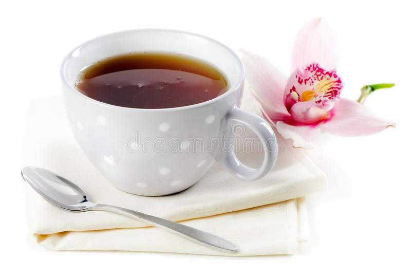 Download Tea cup stock photo. Image of beverage, orchid, white - 28680444
