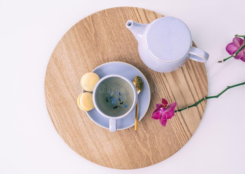Tea cup earl grey british black tea with teapot and sweet lemon macarons, tabletop serving food drinking at home. with stock image