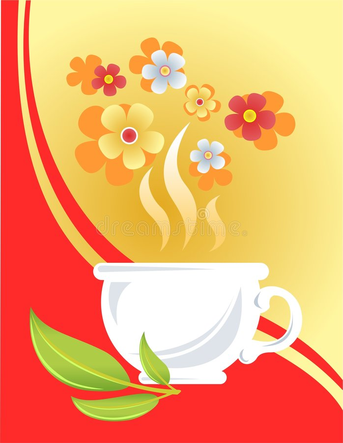 Tea cup and flowers stock illustration