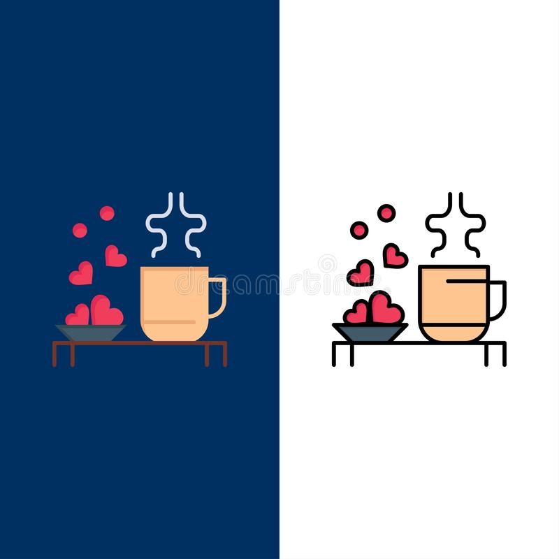 Tea, Cup, Hearts, Love, Loving, Wedding  Icons. Flat and Line Filled Icon Set Vector Blue Background stock illustration