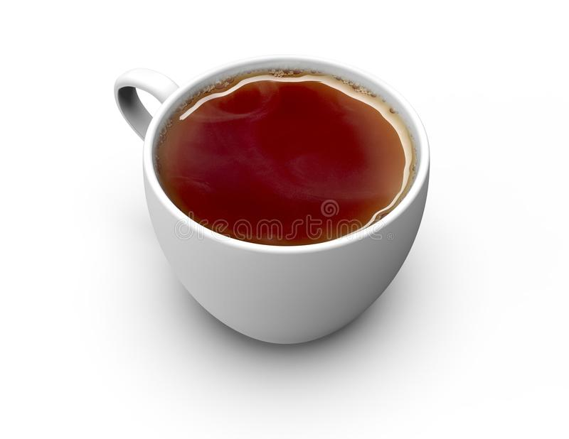 Tea cup isolated on white. Nice tea cup with fresh tea isolated on white stock image