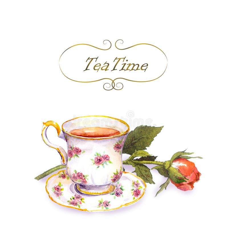 Tea cup with tea, rose flower. Water color card. Tea cup with tea and rose flower. Water color card stock illustration