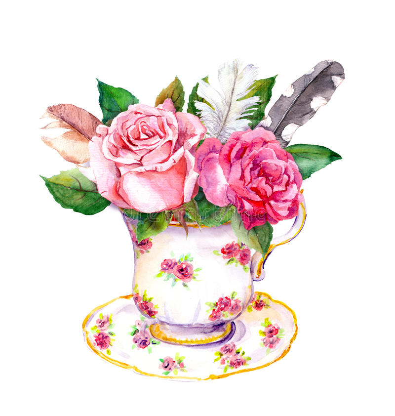 Tea cup with rose flowers, vintage feathers. Watercolor for teatime. Boho chic tea cup design with rose flowers and vintage feathers. Hippy watercolor for tea royalty free illustration