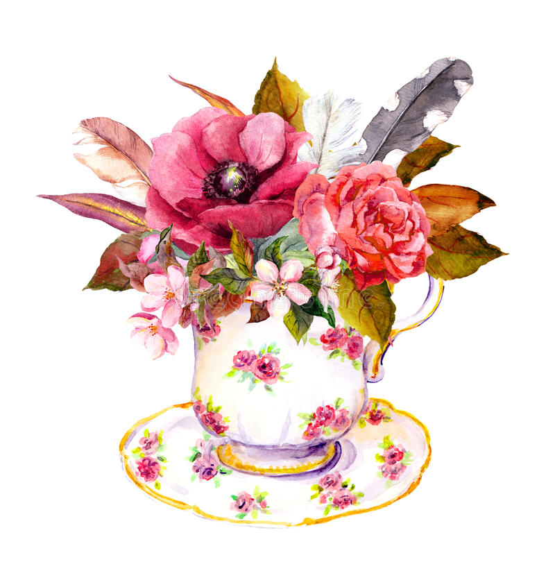 Tea cup with rose flowers, vintage feathers. Watercolor for teatime. Boho chic tea cup design with rose flowers and vintage feathers. Watercolor for tea time royalty free illustration
