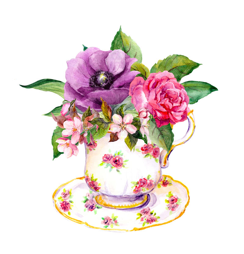 Tea cup with rose flowers. Watercolor for teatime. Tea cup with rose flowers. Watercolor for tea time vector illustration