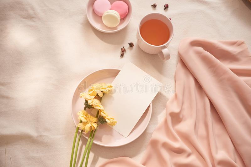 Tea cup with Rose tea and fresh  flower and macarons on white background stock photos