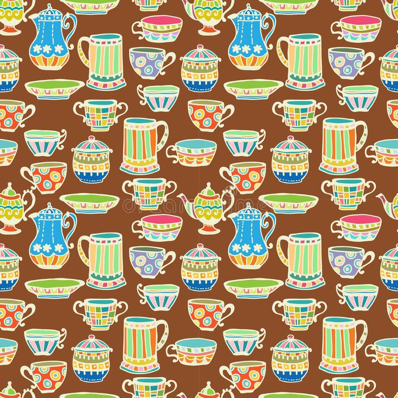 Tea Cup Seamless Background Stock Images
