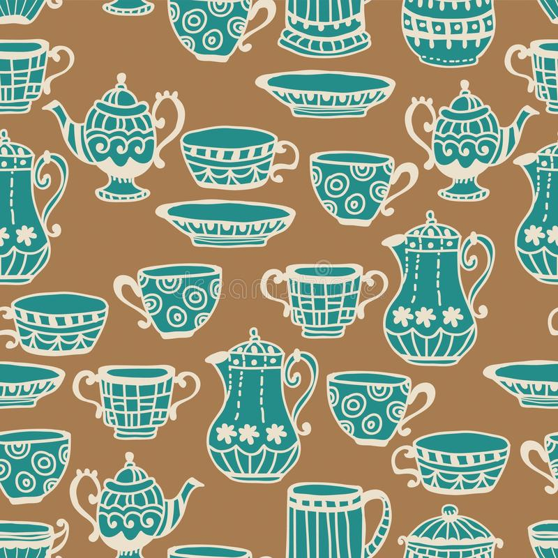 Tea Cup Seamless Background Royalty Free Stock Image