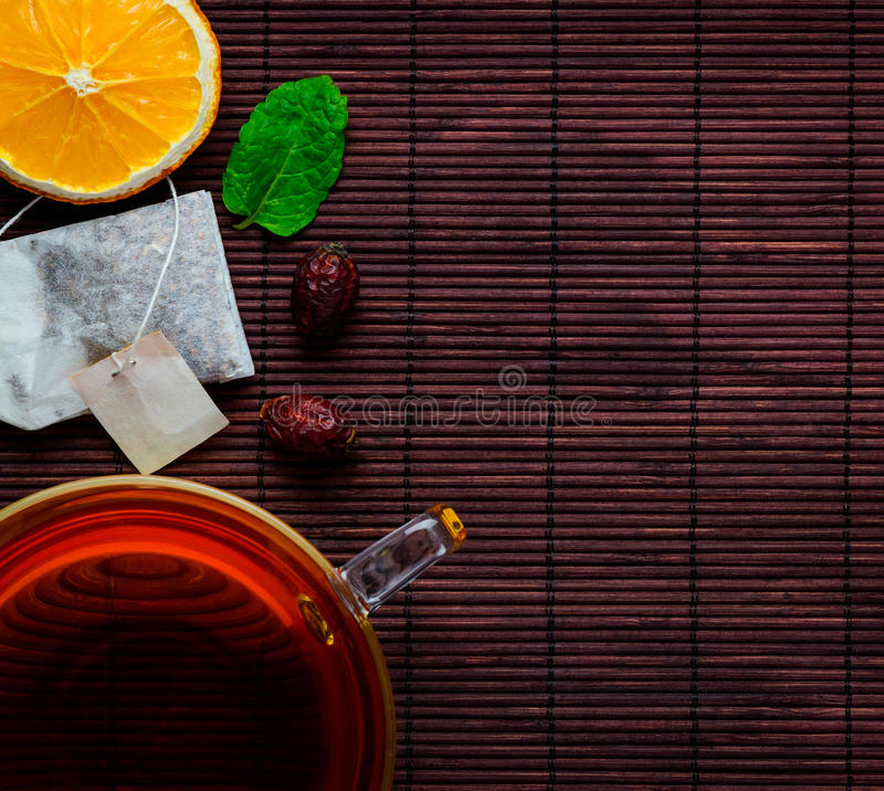 Tea Cup with Sliced Orange stock photography