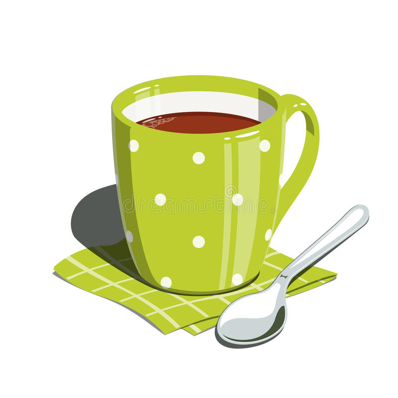 Tea cup and spoon. Eps10 illustration. on white background stock illustration