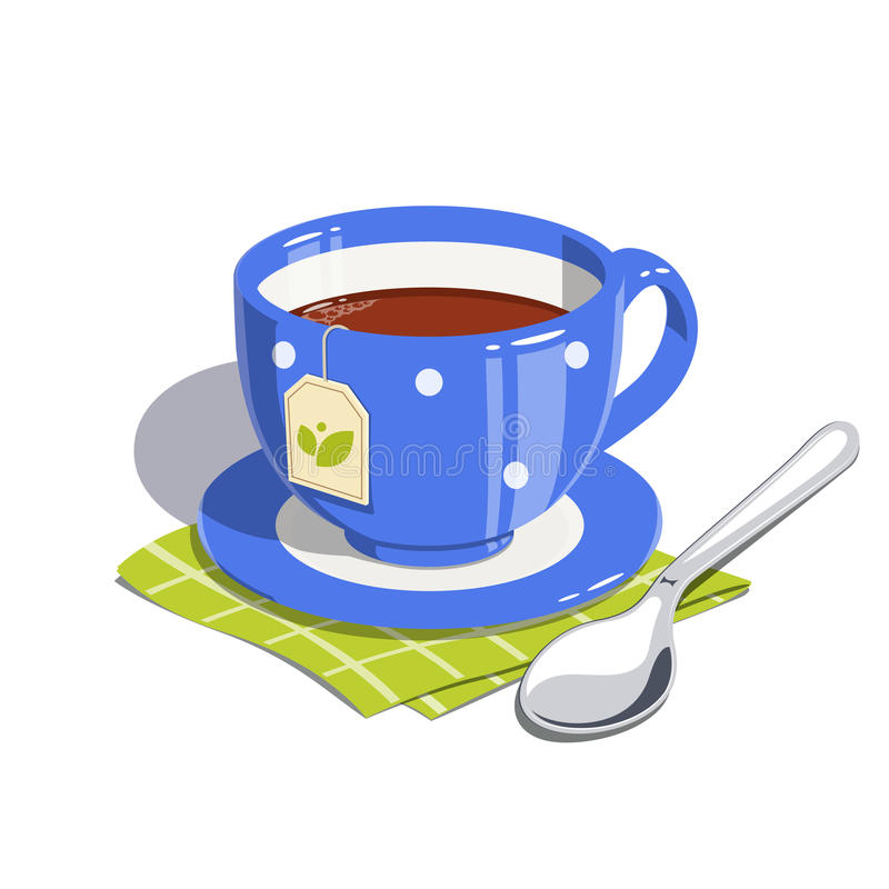 Tea cup and spoon. Eps10 illustration. on white background royalty free illustration