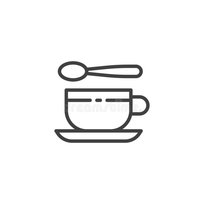 Tea cup and spoon line icon. Linear style sign for mobile concept and web design. Teaspoon and cup with saucer outline vector icon. Symbol, logo illustration vector illustration