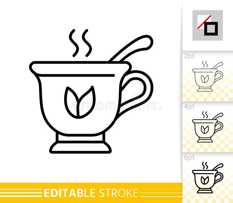Tea cup spoon mug simple thin line vector icon. Tea thin line icon. Cup with Spoon banner in flat style. Mug poster. Teacup Linear pictogram. Simple illustration vector illustration