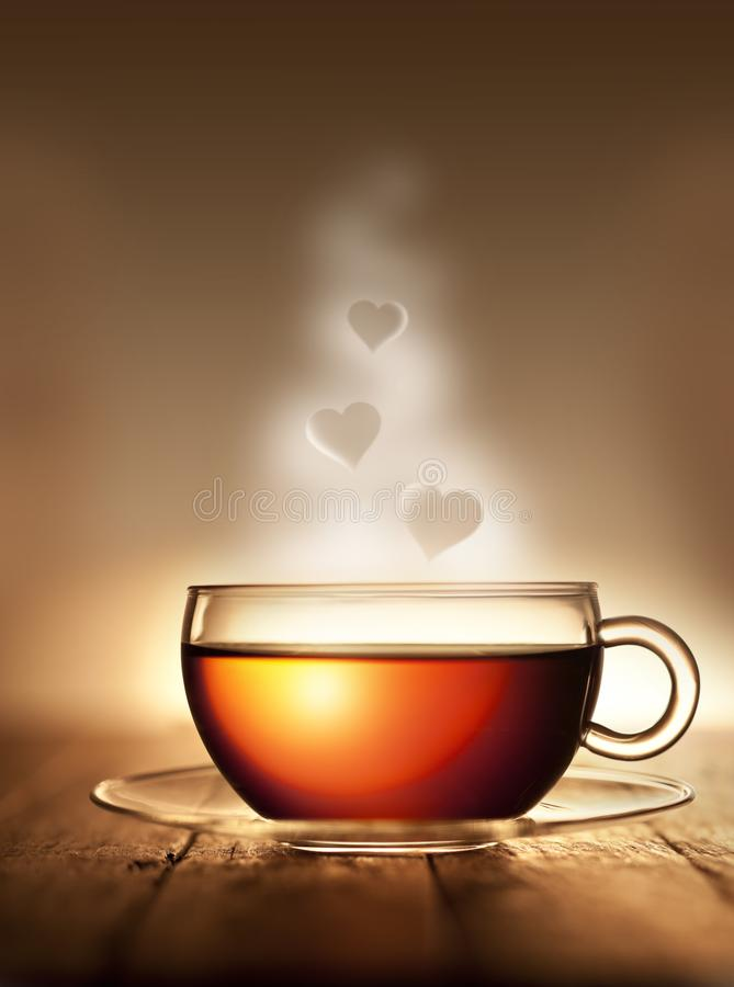 Tea Cup Steam Love Hearts royalty free stock photography