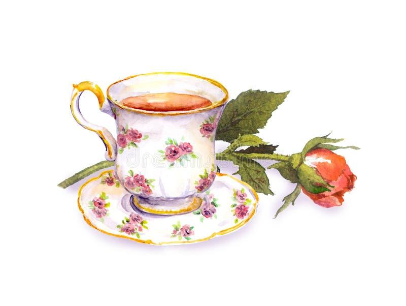 Tea cup with tea, rose flower. Watercolor. Tea cup with tea and rose flower. Watercolor vector illustration