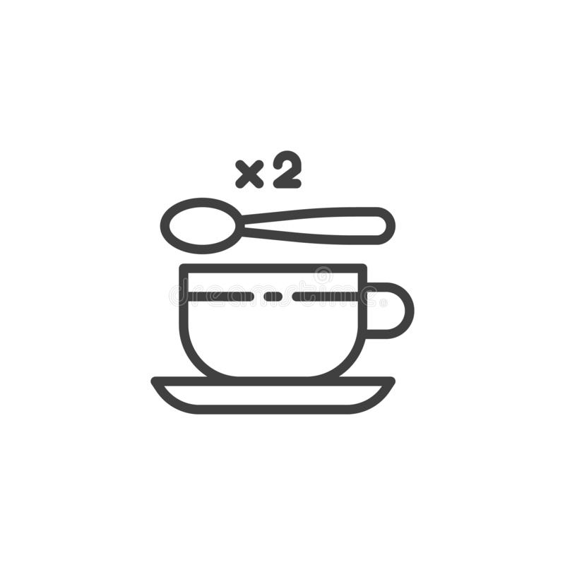 Tea cup with two spoon of sugar line icon. Linear style sign for mobile concept and web design. 2 sugar spoon and coffee cup outline vector icon. Symbol, logo royalty free illustration