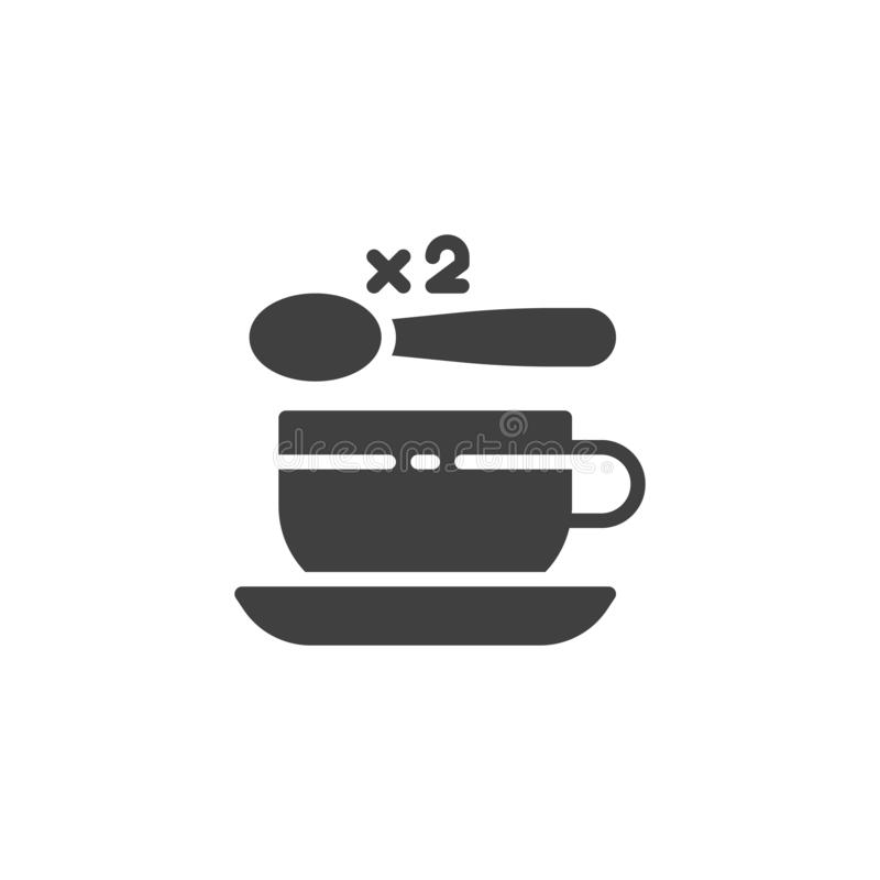 Tea cup with two spoon of sugar vector icon. Filled flat sign for mobile concept and web design. 2 sugar spoon and coffee cup glyph icon. Symbol, logo vector illustration