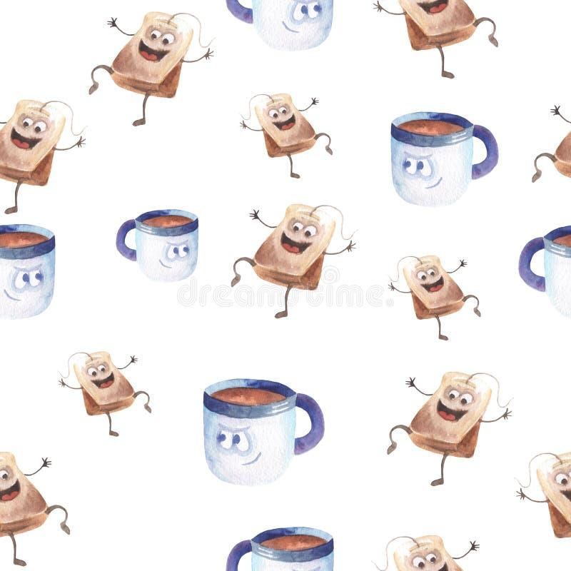 Tea cup watercolor pattern stock illustration