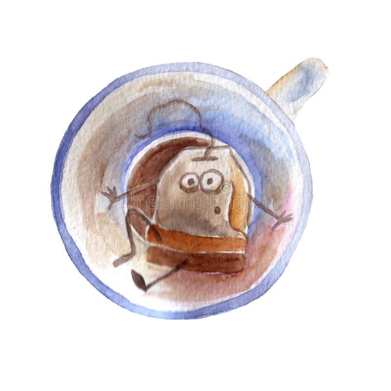 Tea cup watercolor tea bag cartoon watercolor print stock illustration